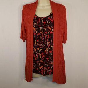 Crofts & Barrow Burnt Orange Open Front  Sweater